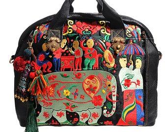 Miya's Original Ethnic Hmong Embroidered Bag Leather Purse Shoulderbag - Fiesta