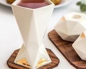 Passover gift Shabbat Kiddush cup, Ceramic wine goblet, Geometric wine cup, white ceramic with 24K gold pattern Judica Gift