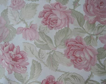 """Fat quarter of Paris Flea Market by 3 Sister For Moda Beautiful Large Roses on Off White Background.  Approx. 18"""" x 22"""""""