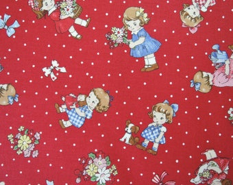 "Fat Quarter of 2016 Lecien Old New 30's Collection Spring Kids in Red. Approx. 18"" x 22"" Made in Japan"