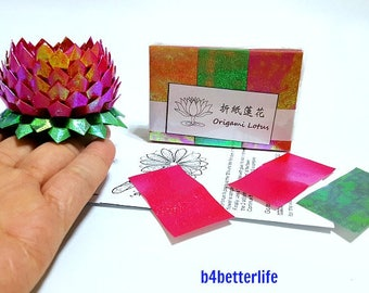 Pack of 300 Sheets Red Origami Lotus Paper Folding Kit for 3pcs Small Size Lotus. (TX paper series). #LPK-51.