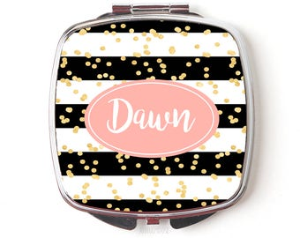 Personalized Compact Mirror - Custom Cosmetic Mirror for Purse or Pocket - Black White Stripes Gold Glitter