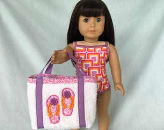 Pink, Purple, and Orange Bathing Suit and Flip Flops Beach Bag for American Girl/18 Inch Doll