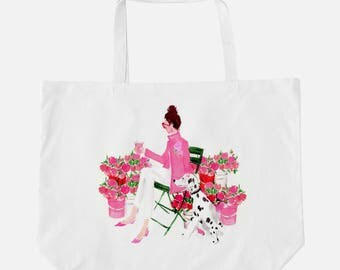 """Oversized Tote """"Flower Market Girl"""" {Cute Tote, Beach Tote, Summer Tote}"""