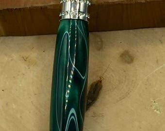 Princess Twist Green Pen with Chrome and Clear Stone