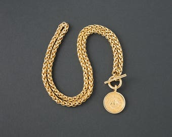 Vintage Joan Rivers Bee Medallion Necklace  36 inches