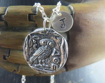 Sterling Silver Athena's owl necklace, ancient coin necklace, ancient coin with athenas owl, greek mythology, greek goddess, athena owl, owl
