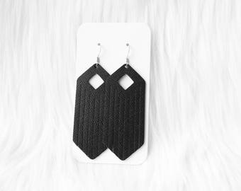 Black Fringe Leather Drop Earrings