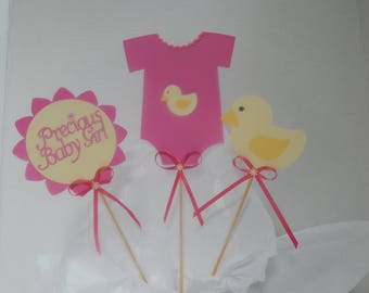 Onesie Baby Shower decoration, baby girl, duck baby shower, Centerpiece ,Picks, chick