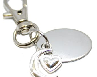 Engraved / personalised metal moon and heart charm in velvet gift pouch BR635