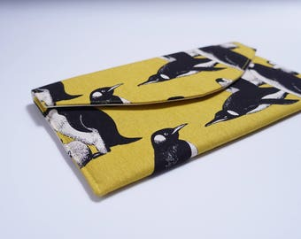 Norma Envelope Clutch Purse, Penguin on Yellow Print