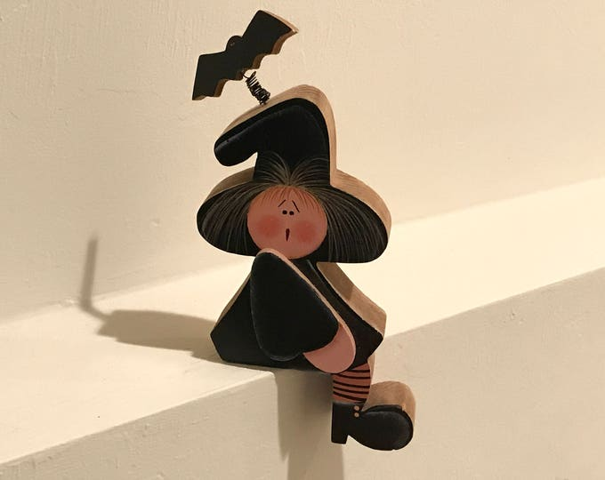 Featured listing image: Vintage Halloween Decor, Witch Shelf Sitter, Small Wood Witch, Wooden Witch, Black & Orange, Halloween Witch,Black Bat Hat, Halloween Figure