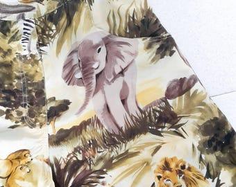 Vintage Safari print silk shorts
