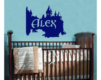 Custom Personalized Name Castle Wall Decal removable sticker king prince camelot knight royal baby kids room decor child nursery art FA10