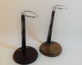Vintage Set of 2 Wood Base Doll Stands, Adjustable, Adjust to Different Heights