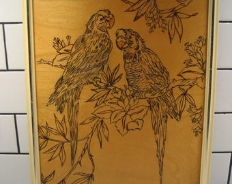 40% OF SALE // Vintage Wooden Parrot Art - Pyrography - Pyrogravure - Woodburning - Retro cream and gold plastic frame - made in Canada