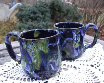Pair of Blue/Yellow/White Celia Cole Pottery Coffee Mugs/Dated 1992/Sanford,NC