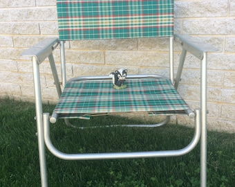 Aluminum Folding Chair, Retro Plaid Chair, Vintage Lawn Chair, Patio Furniture