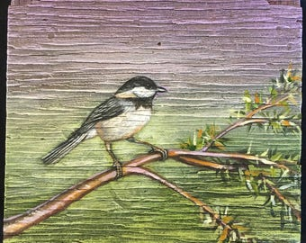 Black Capped Chickadee Painting on Weathered Plywood