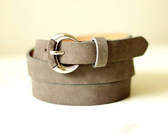 Free shipping! Gray belt, grey leather belt, leather belt, suede belt, grey suede belt, woman grey belt, womans leather belt, jeans belt