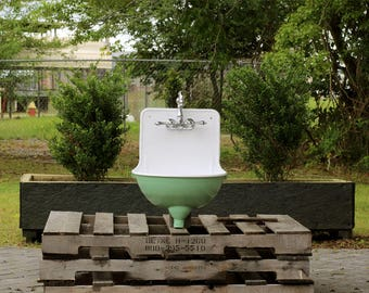 Refinished 1921 Antique Rounded Lavabo High Back Wall Mount Stamped Metal Bath Sink Package Arsenic Green Basin