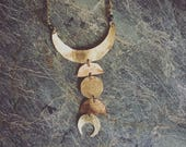 Shine Bright Moonphase necklace, vertical brass moonphase necklace, moon phase necklace, brass moon phase necklace