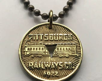 vintage! 1922 Pittsburgh Pennsylvania Railway Co. Transit Token coin pendant streetcar Transportation Good For One Fare USA necklace n002137