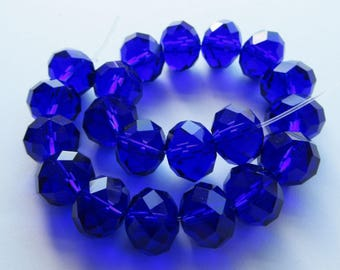 20 Large Faceted Crystal Glass Rondelle Beads Spacers Blue Sapphire
