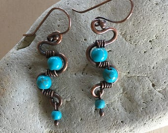 Turquoise weave earrings - Copper - Wire Wrapped - Handmade - Beaded - Artisan Jewelry