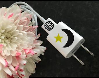 MOON-STARS-MONOGRAM....Decals for Phone Charger and Cord