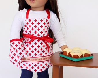 18 inch girl doll clothes -  Bon Apetit Scalloped Hem Apron with oven mitt