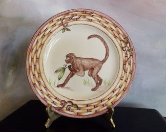 Plate With Monkey For Decoration Or Serving_Porcelain Plate With Monkey