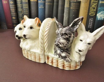 Art Deco Ceramic Book-Ends - B & W Scottish Terrier Pups And Jack Russell Puppies We Do Combine Postage