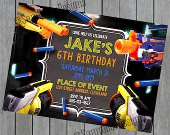 Kids Party Invitation - Custom Birthday - Gun Birthday - Foam Gun Invitation - Boys Birthday Invitation - Printable Birthday Invites