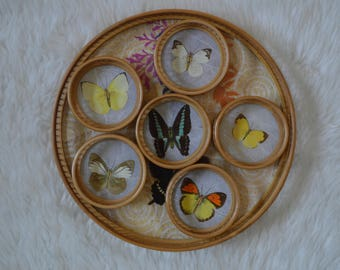 Vintage Wicker Butterfly Tray + Coasters • Set of 6 Coasters