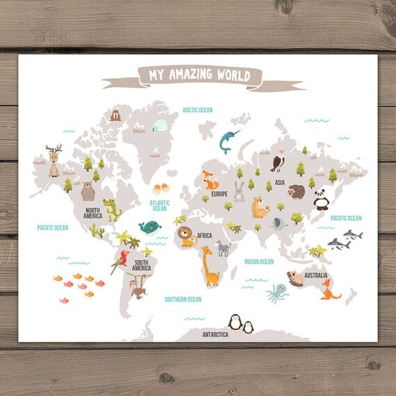 Animal world map kids world map poster nursery world map baby room il570xn gumiabroncs Image collections