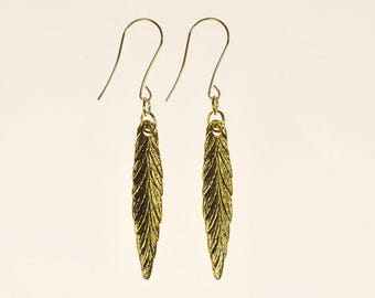 Gold Feather Long Drop Earrings Spring Summer Festival Jewelry Birthday Gift for Her Boho Tribal Artisan Antique Gold Brass Dangle Earrings