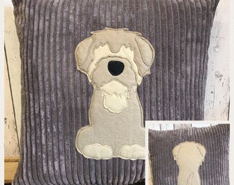 Terrier - brown soft  jumbo cord Cushion with a tail
