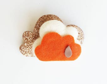 Handmade brooch with felt cloud. ORANGE