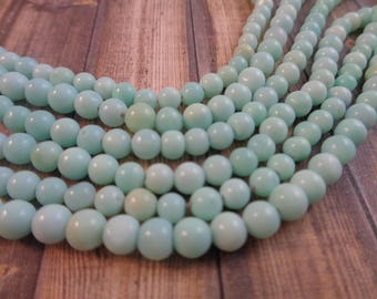 44 Small Round Light Aqua Amazonite Semi-Precious Stone Beads 4mm Round Small Light Blue Light Green Aqua Amazonite Stone Beads Round #S1304