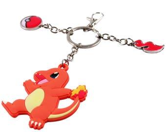 Nintendo Pokemon Charmander Rubber Keychain and Pokeball Charm Accessory