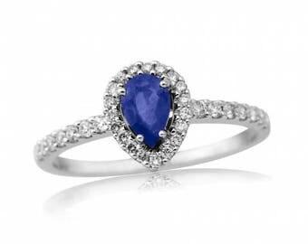 Pear Cut Sapphire & Diamond Halo Ring