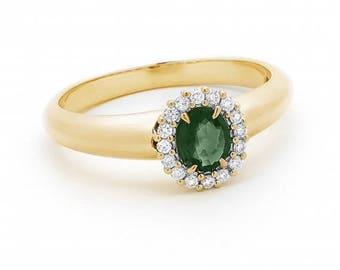 0.12ct Emerald & Diamond Halo Ring