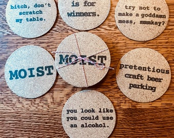 Set of six funny cork coasters
