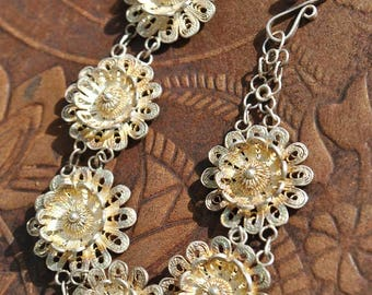 Vintage Silver Flower Filigree Bracelet • 925 silver • Daisy Chain • Cannetille