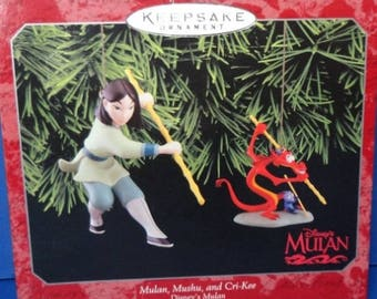 1998 Mulan Mushu and Cri kee Hallmark Disney Ornaments