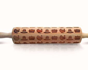 Thanksgiving Rolling Pin - Rolling Pin Wood - Embossed Rolling Pin - Wooden Rolling Pin - Custom Rolling Pin - Engraved Rolling Pin