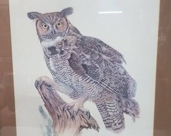 "E Darrell Smith signed ""Great Horned Owl"" Framed 1978"