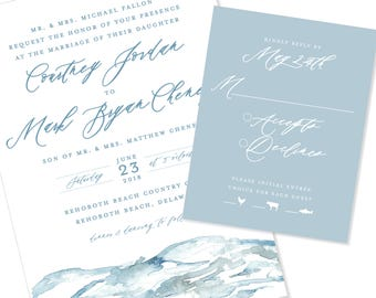 Ocean | Beach Destination | Wedding Invitation | DIY Option Available | Invitation | RSVP | Info Card #1235
