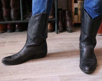 FREE shipping fees - 41/42EU Black 100% leather roper mid calf boots